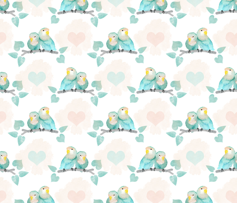 Pastel Lovebirds fabric by lemon_chiffon on Spoonflower - custom fabric