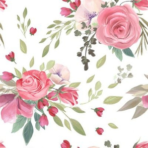 Pink & Red Romantic Roses Florals