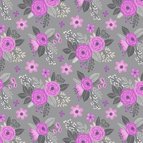 Vintage Antique Floral Flowers Purple Lilac on Grey Smaller Tiny