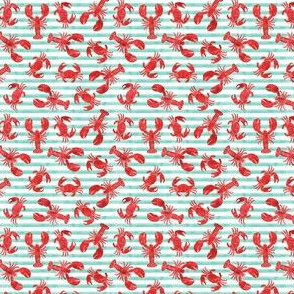 "(3/4"" scale) lobsters and crabs on aqua stripes C19BS"