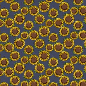 "(3/4"" scale) Sunflowers - blue C19BS"