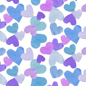 Fabric Heart Cut Outs in Lilac Blues