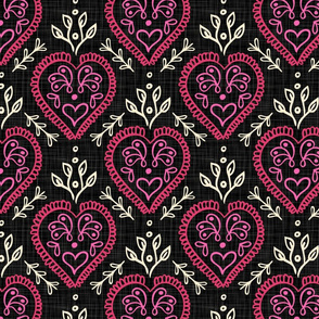Heart & Leaves - Hot Pink, H White, Black