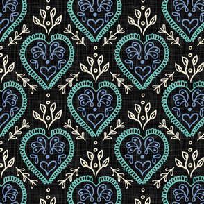 Heart & Leaves - Turquoise, Periwinkle, H White, Black