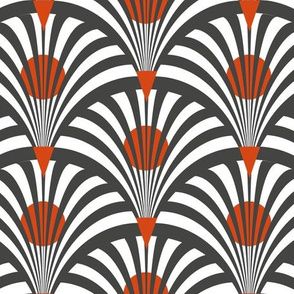 Art deco grey and orange fans