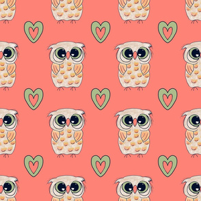 Owl Always Love You -coral background