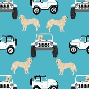 golden retriever adventure outdoors fabric - dog fabric, dog breeds fabric, golden retriever fabric -  turquoise