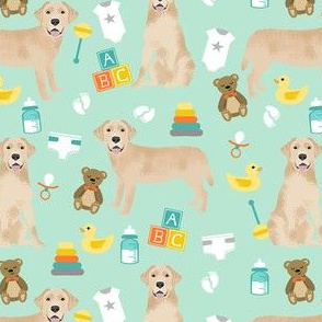 yellow lab baby fabric - expecting fabric, dog fabric, dog breeds fabric, cute dog - mint