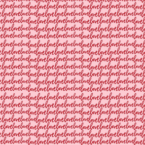 love love love valentine's day cursive script handlettered red pink
