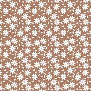 "Brown ""flour sack"" floral"