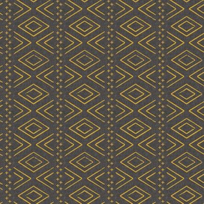(small scale) Safari Wholecloth Diamonds mustard on grey - farmhouse diamonds - mud cloth fabric (90)  C19BS