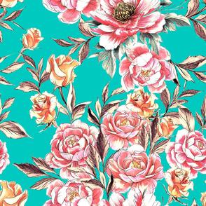 Roses 'n Peonies Teal