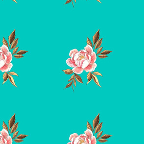 Peony Co-ordinate Teal