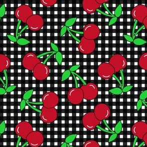 Rockabilly Black + White Gingham & Cherries