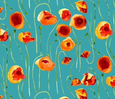 Watercolor Poppies  fabric by limezinniasdesign on Spoonflower - custom fabric