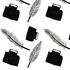Feather And Ink fabric _Spoonflower