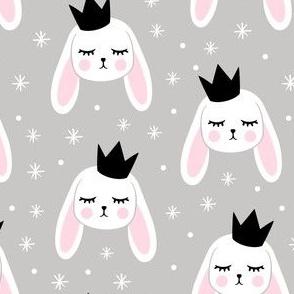 Bunny Princess - black crown on grey LAD19
