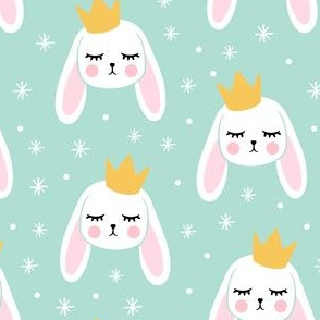 Bunny Princess - aqua - easter spring rabbit bunnies LAD19