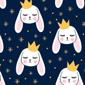 Bunny Princess - navy - easter spring rabbit bunnies LAD19
