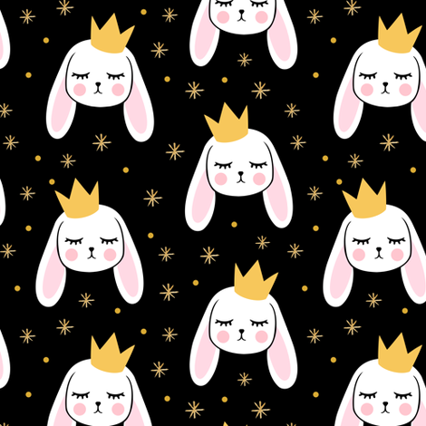 Bunny Princess - black - easter spring rabbit bunnies LAD19 fabric by littlearrowdesign on Spoonflower - custom fabric