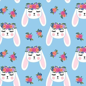 Floral Bunnies - blue - easter spring rabbit bunnies LAD19