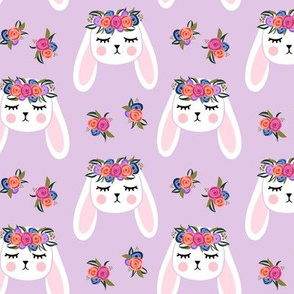 Floral Bunnies - purple - easter spring rabbit bunnies LAD19