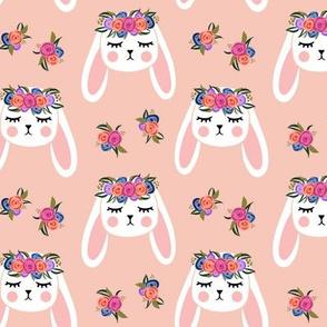 Floral Bunnies - peach - easter spring rabbit bunnies LAD19
