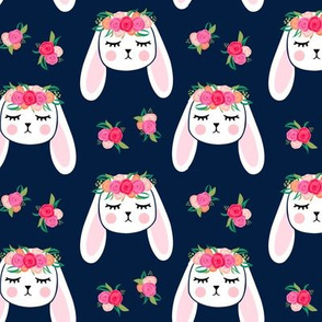 Floral Bunnies - navy - easter spring rabbit bunnies LAD19