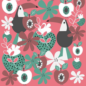Toucans with apples and strawberries