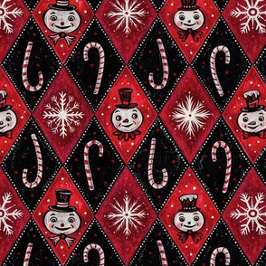 Frosty Red Diamond Snowmen