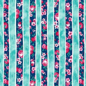 Wavy Floral Watercolour Stripes Mint Green Navy Blue Smaller 0,5 inch stripes Rotated