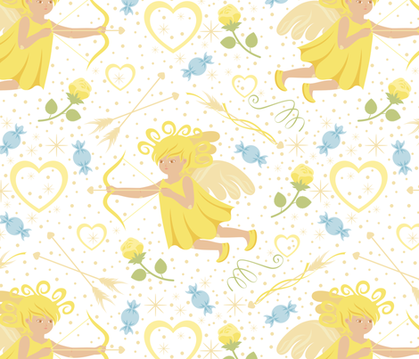 CY. Be my Valentine challenge. Little Cupid fabric by cotsy_yard on Spoonflower - custom fabric