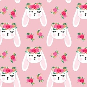 Floral Bunnies - pink - easter spring rabbit bunnies LAD19