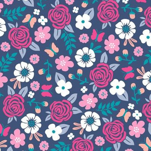 Flowers and Roses  Floral Pink on Navy Dark Blue