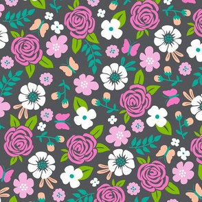 Flowers and Roses  Floral Pink on Dark grey