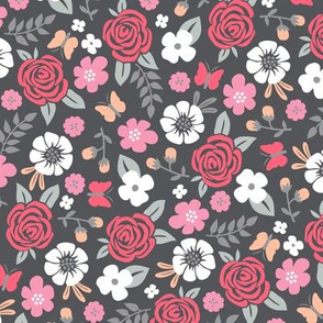 Flowers and Roses  Floral Red on Dark Grey