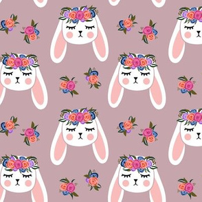 Floral Bunnies - mauve - easter spring rabbit bunnies LAD19