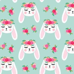 Floral Bunnies - mint - easter spring rabbit bunnies LAD19