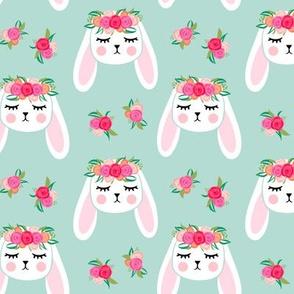 Floral Bunnies - mint - easter spring rabbit bunnies LAD19