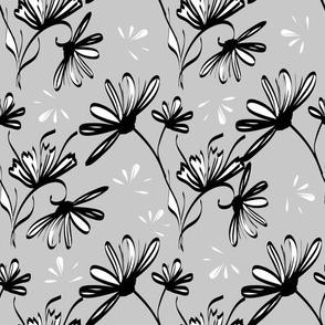 Flores De Blanco Y Negro Sobre Un Color Gris Wallpaper Dnapslvsk