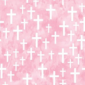 Crosses on pink watercolor - LAD19