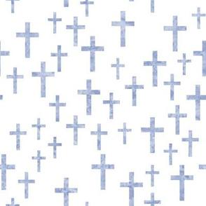 Crosses in periwinkle watercolor - LAD19