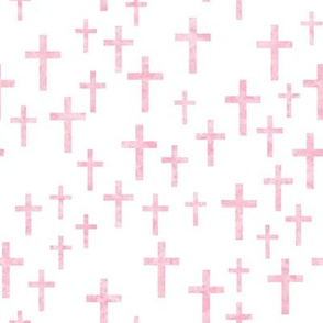 Crosses in pink watercolor - LAD19