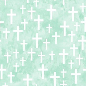 Crosses on mint watercolor - LAD19