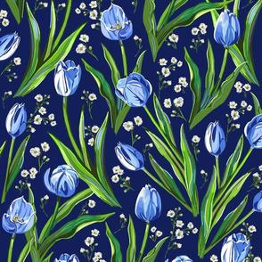 Blue Tulips + Babys Breath   Navy