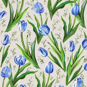 Blue Tulips + Babys Breath | Natural Linen Texture