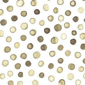 watercolor polka dots - walnut brown