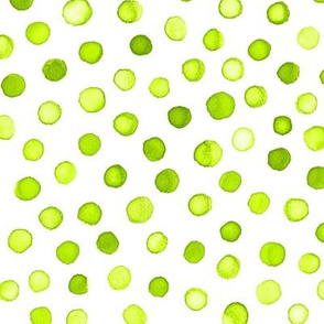 watercolor polka dots - lime green