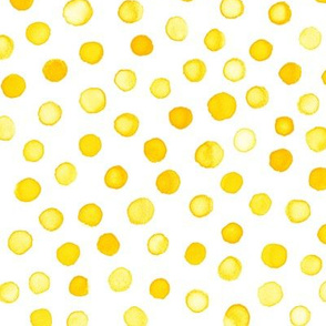 watercolor polka dots - yellow gold