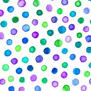 watercolor polka dots - purple, blue, teal and green